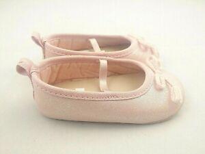 Carters Baby Girl Pink Glitter Shoes 6-9M Soft Crib Slip-On Dressy Ballerina Fun