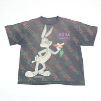 Vtg 90s Bugs Bunny T-Shirt 2XL Sun Faded Black Distress Single Stitch All Over P