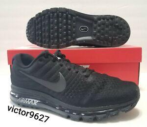 Size 14 Nike Air Max 2017 Triple Black Running Training Shoes 849559-004 Mens