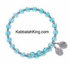 Wind & Fire 6mm Aqua Crystal With Spacer Bead Stackable Bangle Bracelet Made USA
