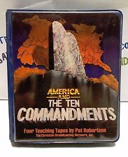 AMERICA AND THE TEN COMMANDMENTS PAT ROBERSON. 4 TEACHING TAPES.  USED!!!