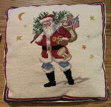 American Flag Santa Clause With Bear Cub And Presents Sack Embroidered Pillow