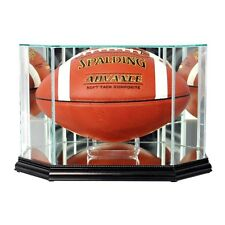 New Full Sized Glass Football Display Case UV NFL NCAA Black Molding Made in US