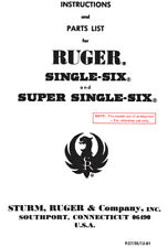 Ruger Single Six & Super Single Six Revolver Instruction and Owners Manual
