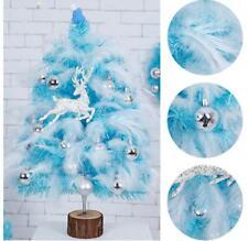 Blue Mini Christmas Tree w/Feather Ornament Cedar Home Office Decor Decoration