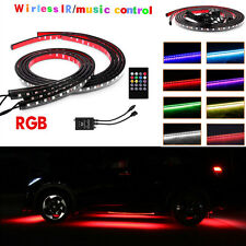 4Pcs RGB LED Strips Under Car Tube Underglow Underbody Decor Neon Lights +Remote