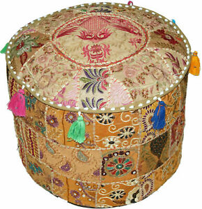 Indian Fancy Ottoman Pouffe Handmade 100% Cotton Food Stool Cover