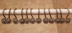 Rare Vintage Metal Flower Floral Design Shower Curtain Hooks Set of 12