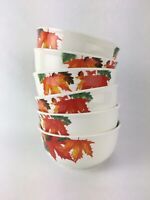 Royal Norfolk Autumn Leaves 6 Soup Cereal Bowls Fall Halloween Thanksgiving