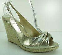 Enzo Angiolini Gold Leather Slingback Wedge Platform Sandals Pumps Heels 10