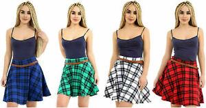 Womens Ladies Check Tartan Printed Pleated Flared Belted Mini Skater Skirt 8-16