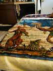 Antique Tapestry Man Leading Woman On Camel 40 L Buy 21w with blue Fringe on end