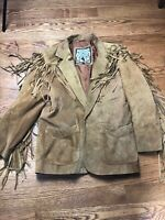 WINLIT  WOMEN'S WESTERN COWGIRL BROWN SUEDE LEATHER FRINGED JACKET - SIZE Medium