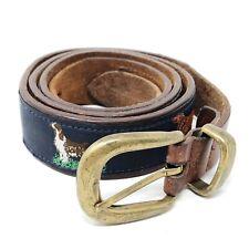 Sportsman GA Dog Patterned Canvas Genuine Leather Blue Brown Belt Brass Size 40