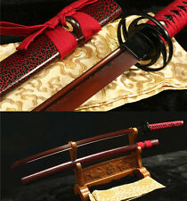 HAND DAMASCUS FOLDED STEEL RED BLACK  TSUBA  SHARP JAPANESE SAMURAI SWORD KATANA
