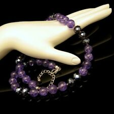 Vintage Purple Crackle Glass AB Crystal Beads Necklace Very Striking Color