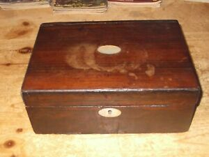 Vintage Wooden Box With Mother Of Pearl Inlaid Detail