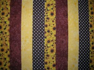 """12 JELLY ROLL STRIPS BROWN/YELLOW  44"""" X 2.5""""  100% COTTON PATCHWORK/QUILT BWY"""