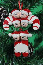 Personalizado de árbol de Navidad Decoración Adorno Candy Cane Familia De 6