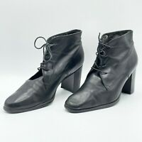 "Enzo Angiolini Women's Black Leather Lace Up Ankle Boots 10M Chunky 3.5"" Heel"
