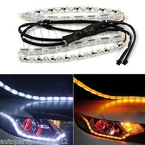 Autos FlexibleTear Eye Dual Color LED Strip DRL Light &Turn Signal For Headlight