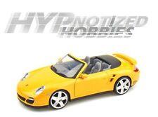 MOTOR MAX 1:24 PORSCHE 911 TURBO CONVERTIBLE DIE-CAST YELLOW 73348
