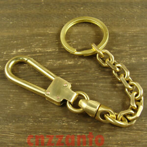 Handmade Solid Brass snap hook clips Fob key chain ring holder carabiner H595