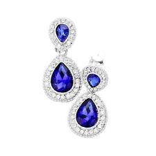 Lange Ohrclips Clips Clip Silber Ohrringe Kristall Klar Königsblau Blau 4 cm lan