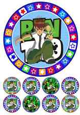 BEN 10 CAKE TOPPER 7 INCH ROUND INCLUDES 32 CUPCAKE TOPPERS!!