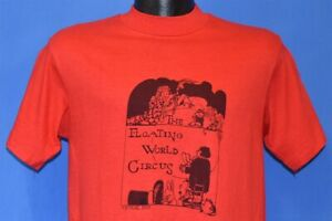 vintage 70s FLOATING WORLD CIRCUS MAGICIAN BUNNY WIZARD TORCH t-shirt SMALL