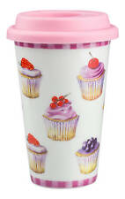 CUPCAKE Design Ceramic Thermal Double Walled Insulated Travel Mug Cupcakes NEW