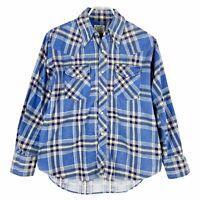 Vintage 60s 70s Mens Sanforized Western Flannel Shirt Plaid Blue Snaps L Large