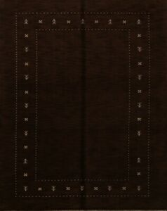 Abstract Nepalese Tibetan Oriental Hand-Knotted 7'x10' Mocha Brown Wool Area Rug