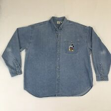 Disney Store Denim Shirt Cotton Long Sleeve Mickey Flipping Coin Size Xxl
