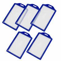 Blue Clear Plastic Vertical Business Working ID Badge Cerdit Card Holder 5pcs