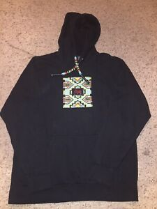 STown LTD Mens Black Hoodie Native American Beaded Unique NWOT