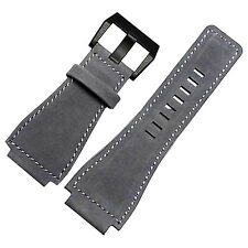 New 24mm Gray Leather Watch Strap band Compatible with Bell&Ross Black Buckle