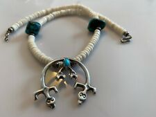 Stunning Vintage Navajo Double Lizard Naja Sterling Silver Turquoise Necklace