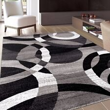 Rug Contemporary Modern Circles Abstract Area 2 X 3 Gray