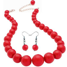 Red colour graduated bead choker necklace and earring set costume jewellery