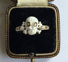 A Stunning Memento Mori Skull, Enamel & Diamond Ring Dated 1767