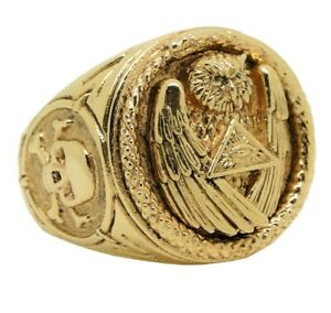 Solid Gold Owl Illuminati All Seeing Eye Snake Skull Masonic Mens Ring 10K 14K