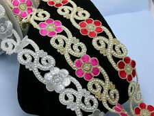 """Fancy Beaded Saree Sari Floral Border Embroidered  2 1/8"""" (54mm)   Per mtr"""