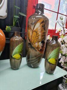 Large Handpainted/Handmade Butterfly: Gradient Wooden Vase