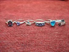 SIX (6) STERLING SILVER WITH COLORED STONES - RING GROUP - HAVE A LOOK