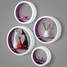 Étagère murale ronde en bois MDF étagère CD DVD murale Blanc Violet FRG9231la