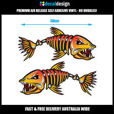 Bad Ass Skeleton Bone Fish Boat Stickers 15cm fishing tackle tinny surf #B015