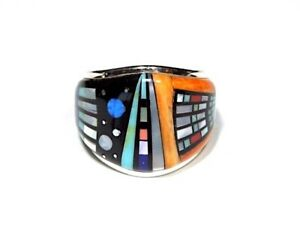 Multicolor Southwest Inlay 925 Sterling Silver Men's Ring size 9,10,11,12,13