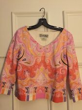 CARLISLE MOD PAISLEY PRINT COTTON STRETCH TOP Sz 6 Pre-owned M7