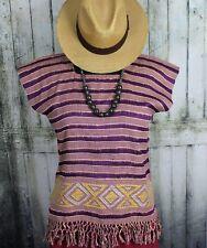 Huipil w/ Fringe Hand Woven on Back Strap Loom Mayan Chiapas Mexico Hippie Boho